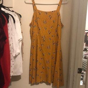Mustard Yellow Floral Dress